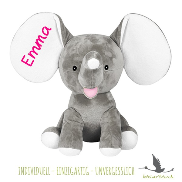 Stofftier Elefant grau mit Namen in pink