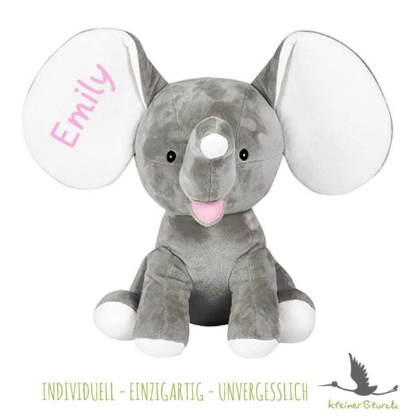 Stofftier Elefant grau mit Namen in rosa