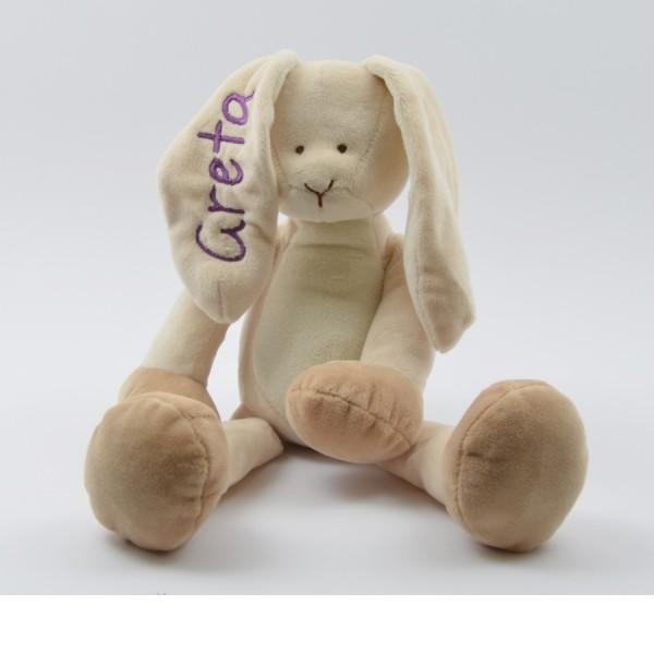 Kuschelhase mit Namen in lila (Modell Greta)