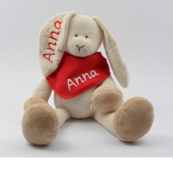 Geschenkset: Kuschelhase & Halstuch mit Namen in rot (Modell Anna)