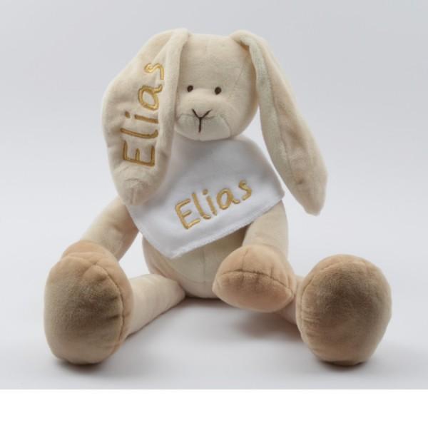 Geschenkset: Kuschelhase & Halstuch mit Namen in gold (Modell Elias)