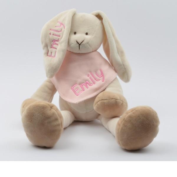 Geschenkset: Kuschelhase & Halstuch mit Namen in rosa (Modell Emily)