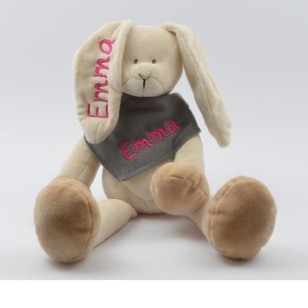 Geschenkset: Kuschelhase & Halstuch mit Namen in pink (Modell Emma)