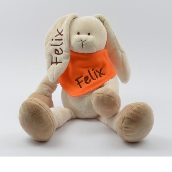 Geschenkset: Kuschelhase & Halstuch mit Namen in braun (Modell Felix)