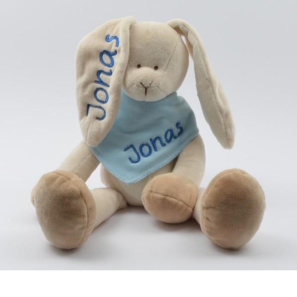 Geschenkset: Kuschelhase & Halstuch mit Namen in dunkelblau (Modell Jonas)
