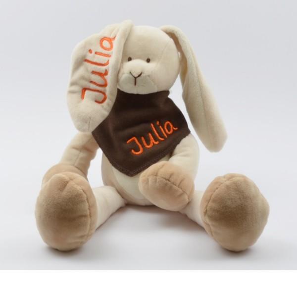 Geschenkset: Kuschelhase & Halstuch mit Namen in orange (Modell Julia)