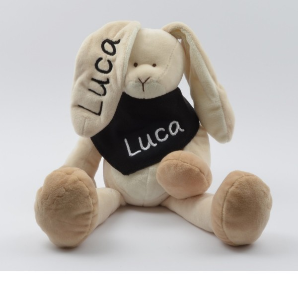 Geschenkset: Kuschelhase & Halstuch mit Namen in schwarz (Modell Luca)