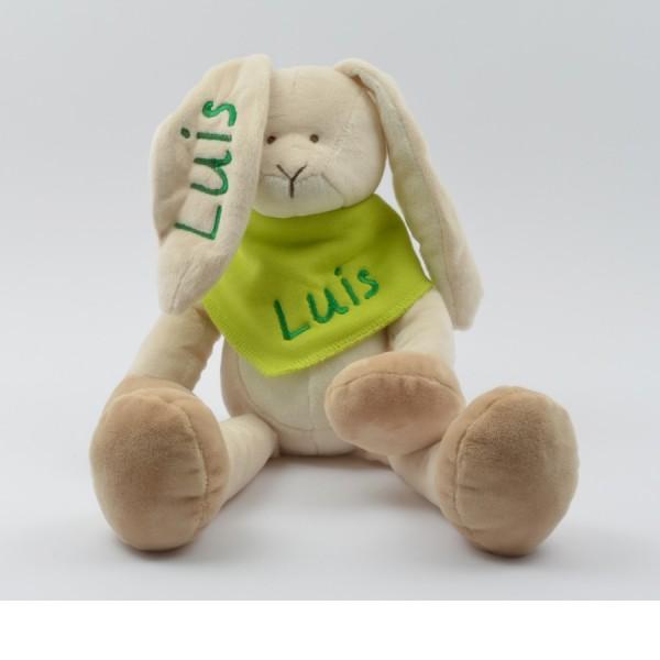 Geschenkset: Kuschelhase & Halstuch mit Namen in grün (Modell Luis)