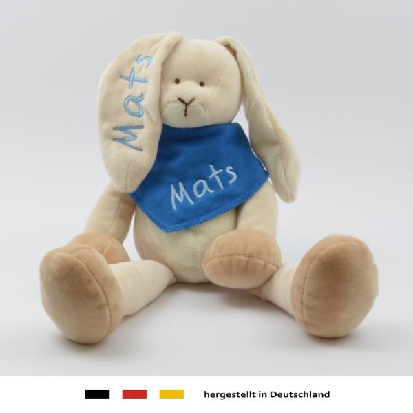 Geschenkset: Kuschelhase & Halstuch mit Namen in hellblau (Modell Mats)