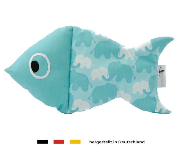 Kuscheltier Schnuffelfisch - Elefant in türkis