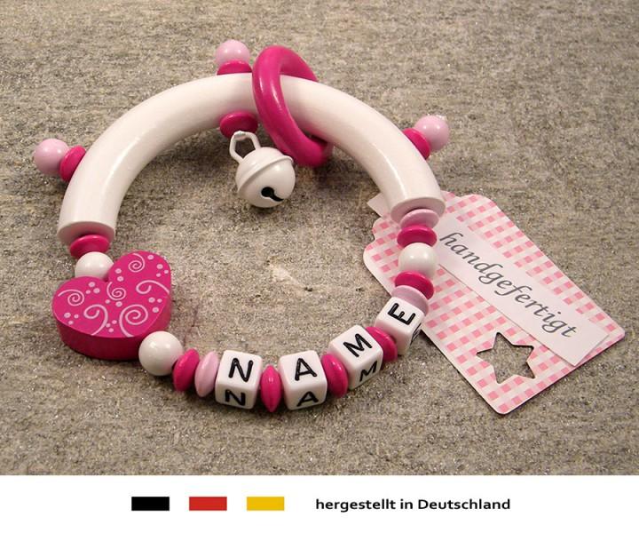 Greifling halbrund mit Namen - Ornament in pink