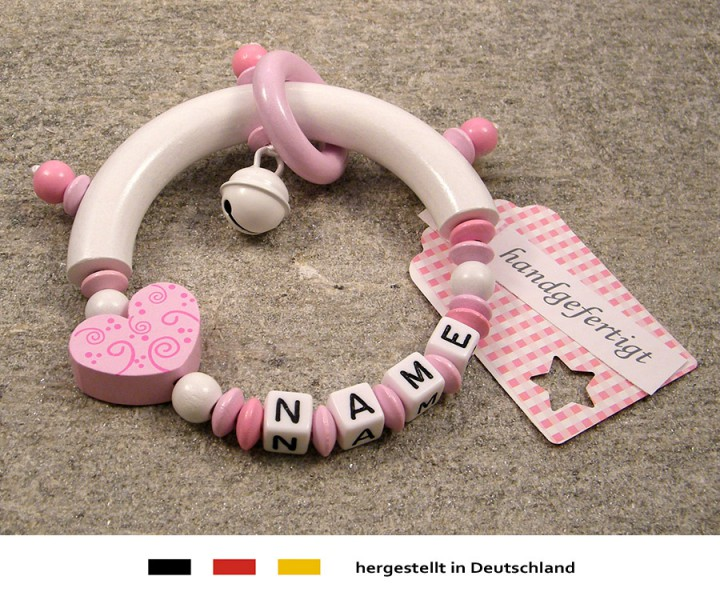 Greifling halbrund mit Namen - Ornament in rosa