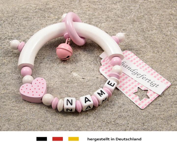 Greifling halbrund mit Namen - Herz in rosa