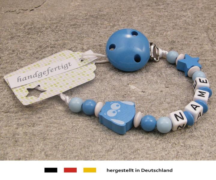 Schnullerkette mit Namen - Eule & Stern in skyblau